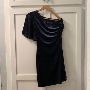 Calvin Klein Navy Blue Velvet One Shoulder Dress